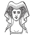 horned head-dress a moderate vintage engraving vector image vector image