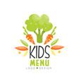 kids menu logo design healthy organic food vector image vector image