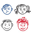 kids smile and sad face faces profile with vector image vector image