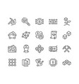 line blockchain icons vector image vector image