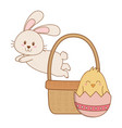 little rabbit and chick with egg painted in basket vector image vector image