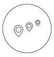 location way black icon outline in circle image vector image
