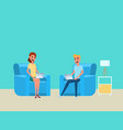 man and woman working at home with laptop on sofa vector image vector image
