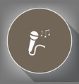 microphone sign with music notes white vector image vector image