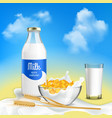 milk realistic composition vector image