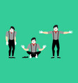 mime set pantomime sad and yoga mimic happy vector image