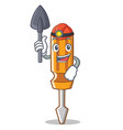 miner screwdriver character cartoon style vector image vector image