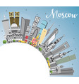 moscow russia skyline with gray buildings blue vector image