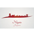 Niigata skyline in red vector image vector image