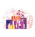 people gift boxes celebration presents prize vector image