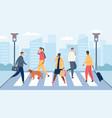 people on crosswalk men and women crossing city vector image vector image