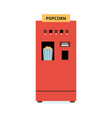 popcorn vending machine - flat red isolated snack vector image vector image