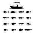 set black silhouette sea river fish vector image
