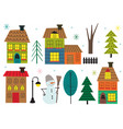 set isolated houses and tree in winter time vector image vector image