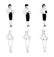set of character business woman in black-white vector image vector image