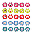 set of cute flower with emoticons vector image