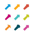 set of multicolored various arrows vector image