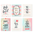 Set of Valentines Day hand drawn greetings vector image