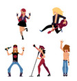 set of young rock musicians singers guitarist vector image