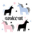set unicorns and stars vector image vector image