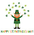 st patricks day greeting card with a leprechaun vector image