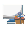 technology computing support cartoon vector image