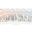 toronto canada city skyline in paper cut style vector image vector image