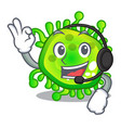 with headphone virus cells bacteria microbe vector image vector image
