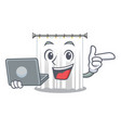 with laptop shower cortains in shape of mascot vector image vector image