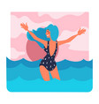 woman in swimming suit on holidays seaside vector image