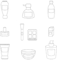 Women cosmetic isolated line icons vector image