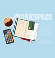 workspace office in flat style vector image