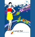 young woman in red-yellow dress on summer vector image vector image