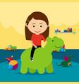 girl riding rubber toy in kindergarten vector image