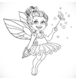 Cute little summer fairy girl with a Magic wand vector image