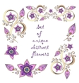 Set of unique hand-drawn abstract floral elements vector image