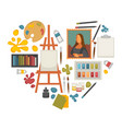 artist paiting materials and creative art picture vector image vector image