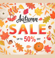 Autumn big sale banner 50 percent discount card