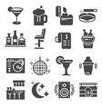 bar gray icons set cocktail drink dj vector image vector image