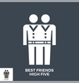 best friends high five glyph icon vector image vector image