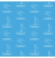 Blue seamless pattern with sailboat and dolphins vector image