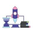 business computer rocket clock books vector image vector image