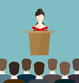business woman makes a speech on podium vector image vector image