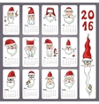 Calendar 2016 Doodles Santa facesMonthly cards vector image