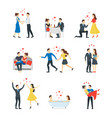 cartoon characters people couples in love set vector image