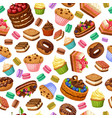 cartoon colorful desserts seamless pattern vector image vector image
