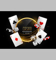 casino background with playing card chips and dice vector image vector image
