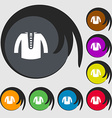 casual jacket icon sign Symbols on eight colored vector image vector image