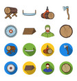 circular saw a working carpenter a stack of logs vector image