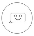 comment smile message black icon outline in vector image